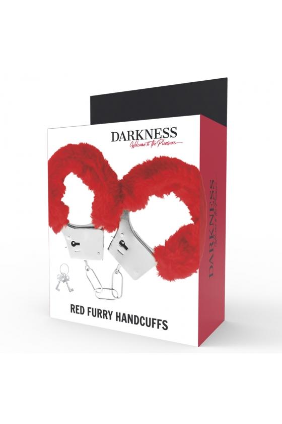 DARKNESS PLEASURE FURRY HANDCUFFS RED